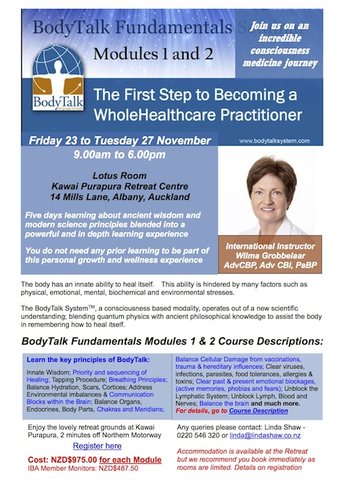 BodyTalk Fundamentals Modules 1 and 2 - Become of Whole Health Care Practitioner